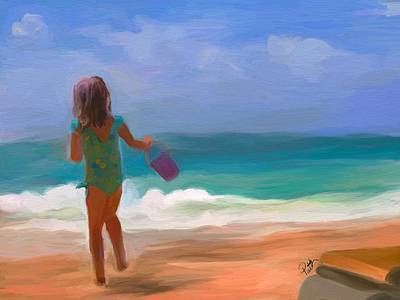 Children Playing On Beach Painting - Aqua Seas by Patti Siehien