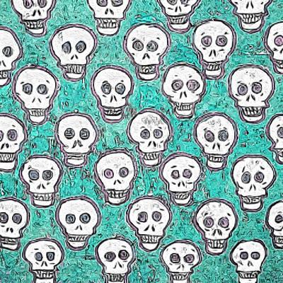 Aqua Skull Pattern Art Print