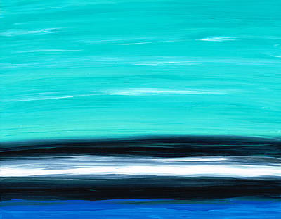 Contemporary Seascape Art Painting - Aqua Sky - Bold Abstract Landscape Art by Sharon Cummings