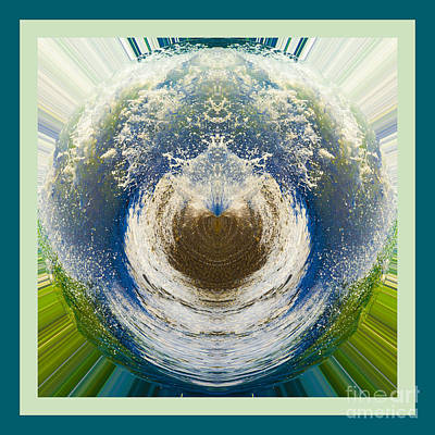 Digital Art - Aqua Splash Ball by Wendy Wilton