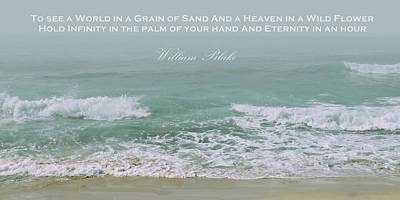 Photograph - Aqua Tide With Blake Quote by Patricia Strand