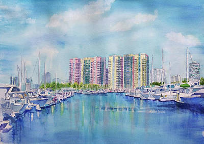 Painting - Aqua Towers And The Marina In Long Beach by Debbie Lewis