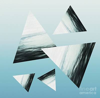 Mixed Media - Aqua Triangle Abstract by Rachel Hannah