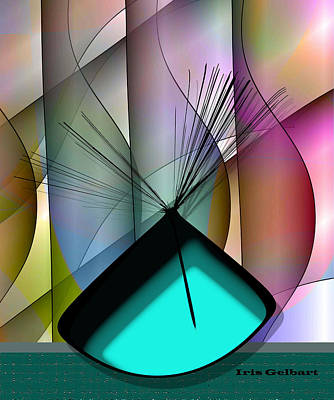Digital Art - Aqua Vase by Iris Gelbart