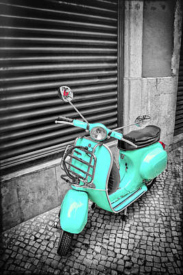 Photograph - Aqua Vespa Scooter Lisbon Portugal In Black And White by Carol Japp