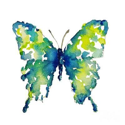 Painting - Aqua Watercolor Butterfly Liana Yarckin by Liana Yarckin