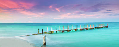 Panoramic Ocean Photograph - Aqua Waters  by Az Jackson