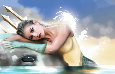 Aqua Woman Art Print