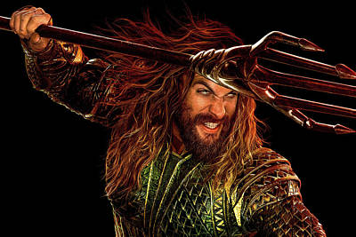 Mixed Media - Aquaman In Justice League by Movie Poster Prints
