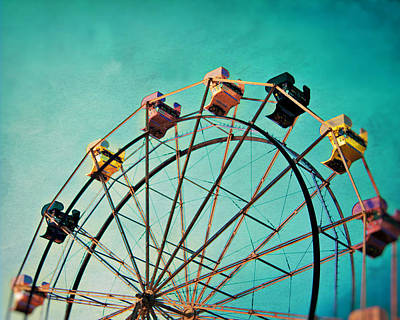 Photograph - Aquamarine Dream - Ferris Wheel Art by Melanie Alexandra Price