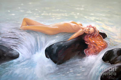 Painting - Aquamarine Sea Goddess by Michael Rock