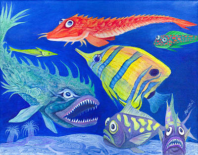 Painting - Aquarium 1 by Adria Trail