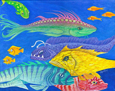 Painting - Aquarium 2 by Adria Trail