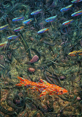 Abstractions Painting - Aquarium 2 by James W Johnson
