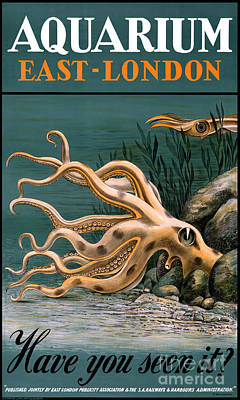 Aquarium Octopus Vintage Poster Restored Art Print