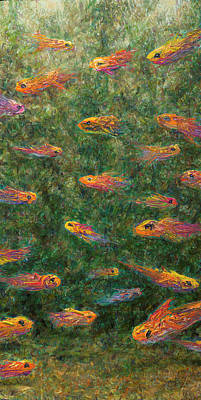 Goldfish Painting - Aquarium by James W Johnson