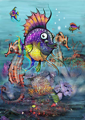 Tropical Fish Painting - Aquarium by Kevin Middleton