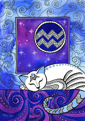 Painting - Aquarius Cat Zodiac by Dora Hathazi Mendes