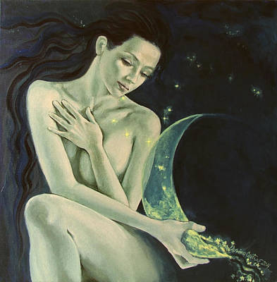 Constellations Painting - Aquarius From  Zodiac Signs Series by Dorina  Costras