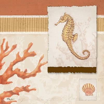 Aquarius Painting - Aquarius I Coral Square by Paul Brent
