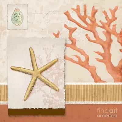 Aquarius Painting - Aquarius Iv Coral Square by Paul Brent