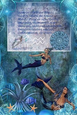 Starsign Digital Art - Aquarius... by Michelle Stevens