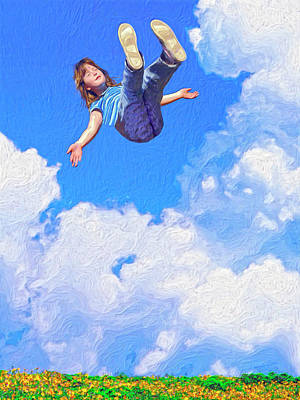 Floating Girl Painting - Aquarius Rising by Dominic Piperata