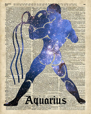 Constellation Digital Art - Aquarius The Water-bearer - Zodiac Sign by Jacob Kuch