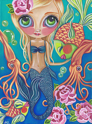 Flower Pink Fairy Child Painting - Aquatic Mermaid by Jaz Higgins