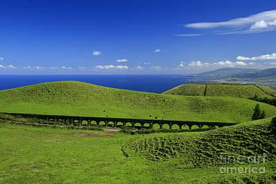 Azoren Photograph - Aqueduct And Pastures by Gaspar Avila