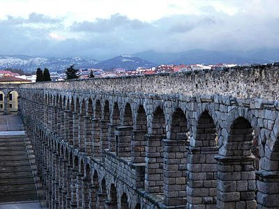 Photograph - Aqueduct Of Segovia With Mountains And Stairs by Alan Socolik
