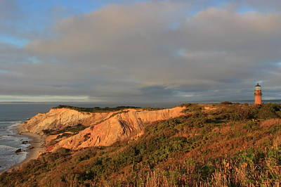 Photograph - Aquinnah Cliffs And Lighthouse Martha's Vineyard by John Burk