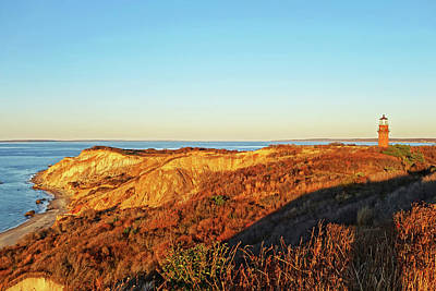 Photograph - Aquinnah Cliffs At Sunset Martha's Vineyard Cape Cod Gay Head Lighthouse by Toby McGuire