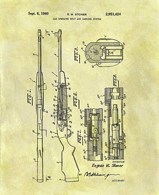 Soldiers Mixed Media - Ar 15 Patent by Dan Sproul
