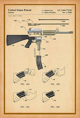 Digital Art - Ar-15 Patent Drawing by Carlos Diaz