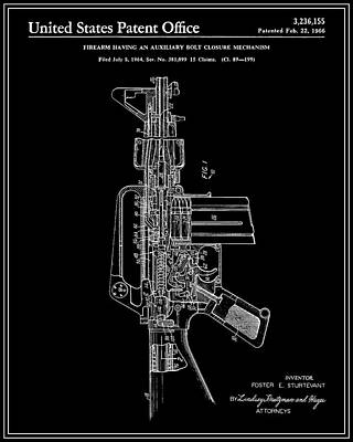 Ar-15 Semi-automatic Rifle Patent - Black Art Print by Finlay McNevin