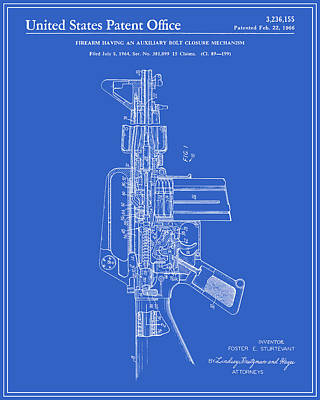 Ar-15 Semi-automatic Rifle Patent - Blueprint Art Print by Finlay McNevin