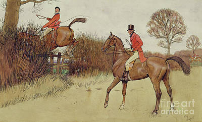Fox Drawing - Ar Never Gets Off - Hunting Scene by Cecil Charles Windsor Aldin