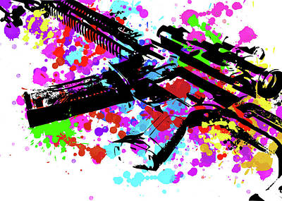 Digital Art - Ar15 Pop Art by Ricky Barnard