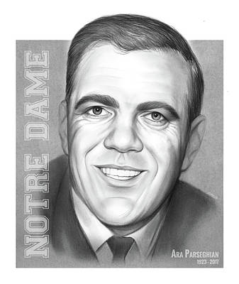 Sports Drawings - Ara Parseghian by Greg Joens