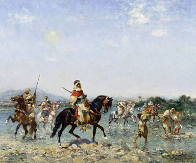 Arabian Horse Painting - Arab Cavalry Fording A Stream by Georges Washington