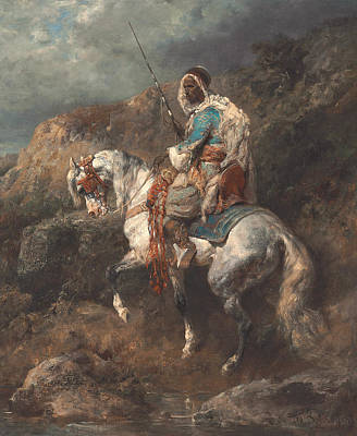 Adolf Painting - Arab Horseman by Adolf Schreyer