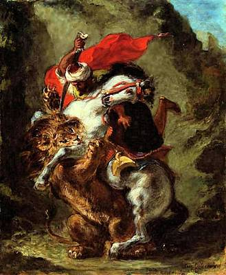Print featuring the painting Arab Horseman Attacked By A Lion by Eugene Delacroix