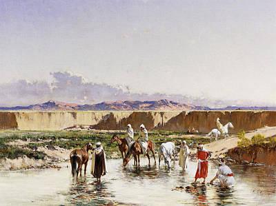 Horse In Water Painting - Arab Horsemen Watering In An Oasis by Victor-Pierre Huguet