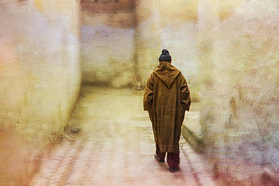 Tapestry - Textile - Arab Man Walking - Morocco 2 by Kathy Adams Clark