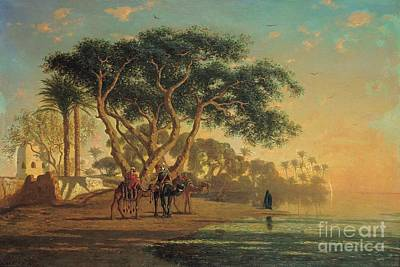 Camels Painting - Arab Oasis by Narcisse Berchere