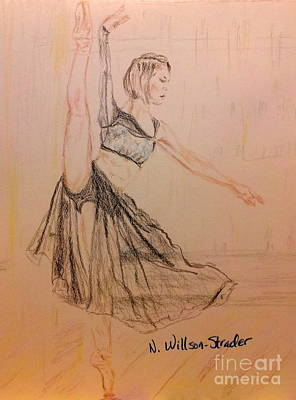Dance Floor Drawing - Arabesque On Pointe by N Willson-Strader