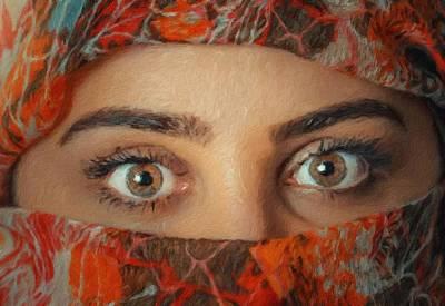 Hijab Fashion Painting - Arabian Beauty by Vincent Monozlay