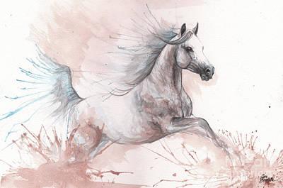 Painting - Arabian Horse 2017 08 01 by Angel Ciesniarska