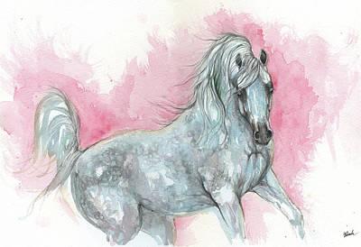 Painting - Arabian Horse 2017 08 04 by Angel Ciesniarska